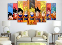 Dragon Ball Goku all Transformations 5 Pieces HD Canvas